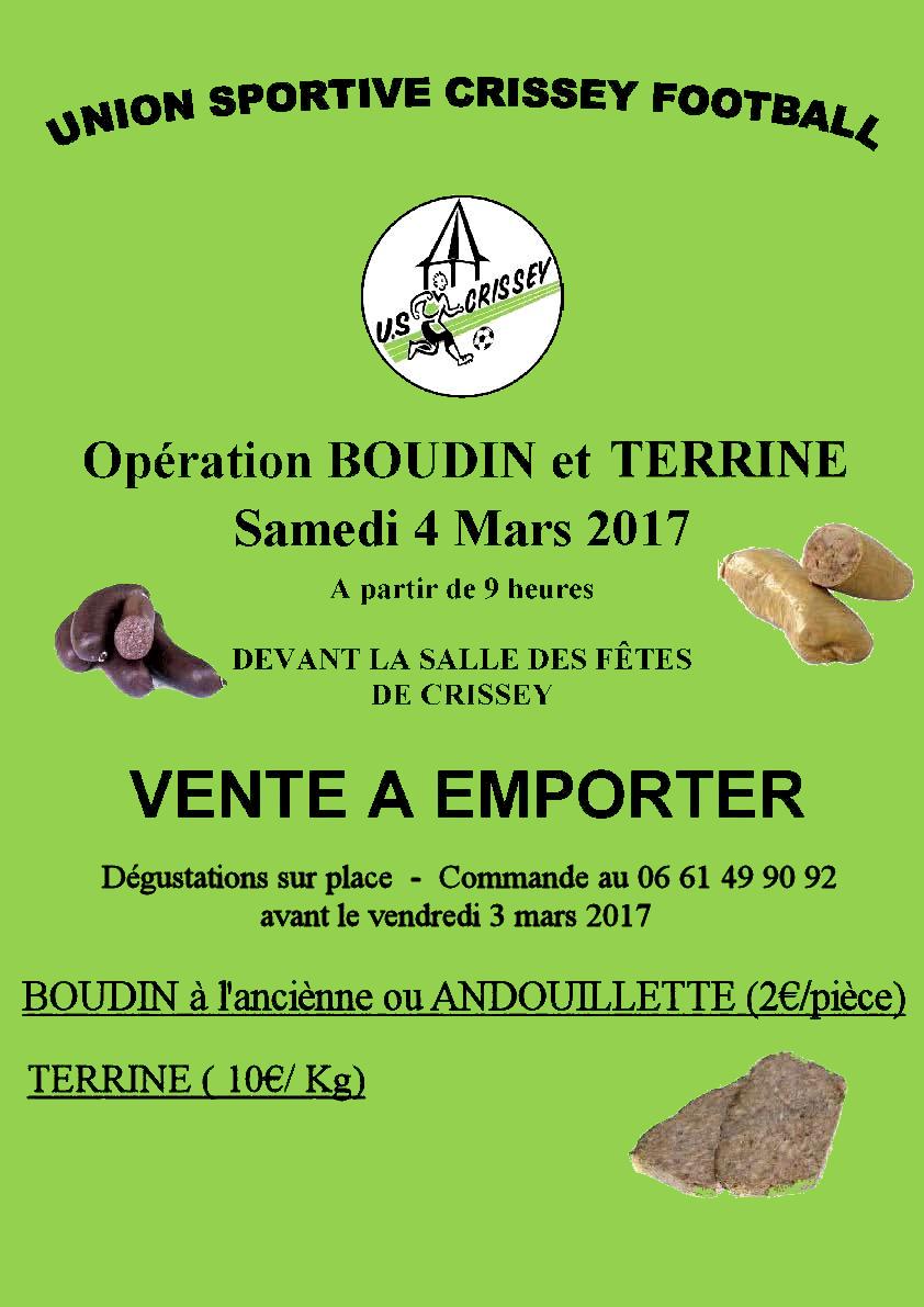 Affiche pour vente Boudin du 4 Mars 2017