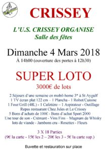 Affiche loto du dimanche 4 Mars 2018
