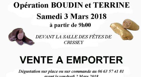 Affiche pour vente Boudin du 3 Mars 2018